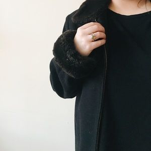 Vintage Coat with Faux Fur Sleeves & Collar